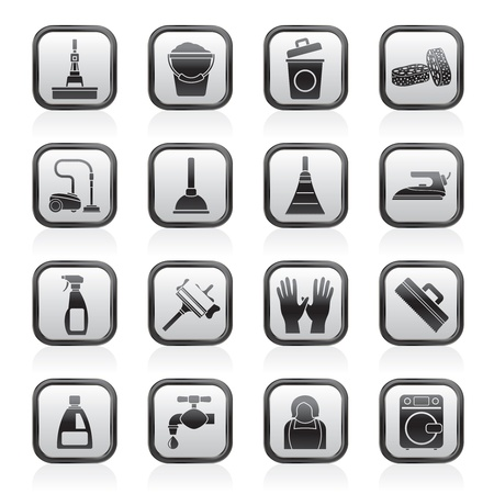 mop floor: Cleaning and hygiene icons - vector icon set
