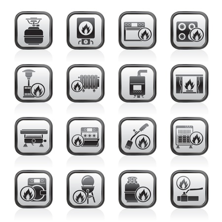 Household Gas Appliances icons - vector icon set Illustration