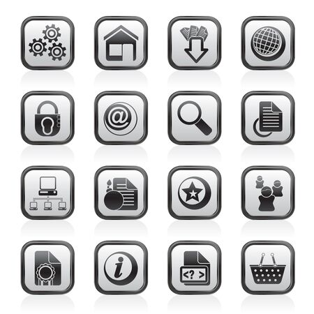 zoom earth: Website and internet icons - vector icon set Illustration