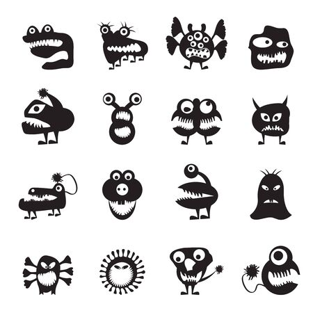 various abstract monsters illustration - vector icon set Stock Vector - 17192360