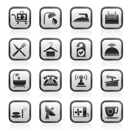 accommodation: Hotel and motel icons  Illustration