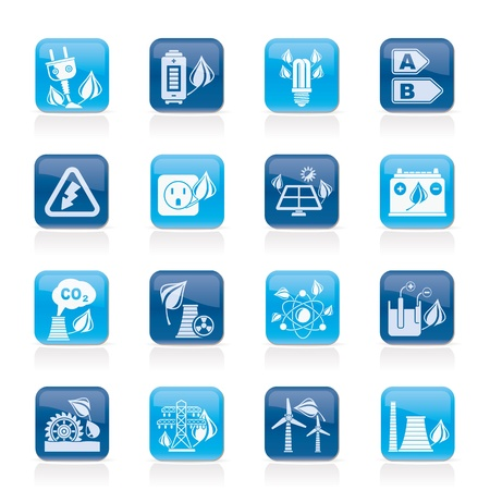 electricity pole: Green energy and environment icons   Illustration