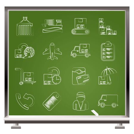 Cargo, shipping and delivery icons Stock Vector - 17359917