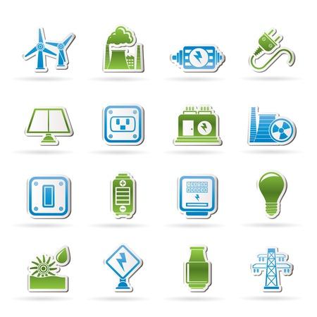генератор: электричество, мощности и энергии иконы Иллюстрация