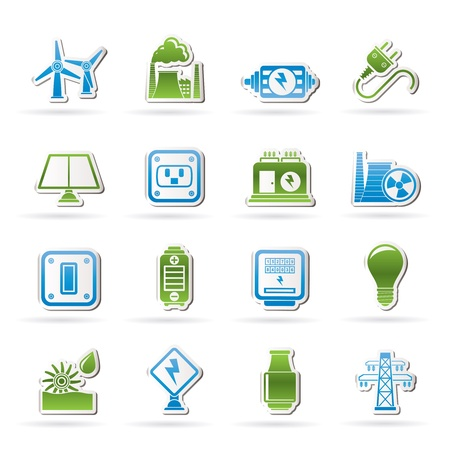 electric meter: electricity, power and energy icons