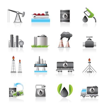 refiner�a de petr�leo: Gasolina y aceite de iconos de la industria