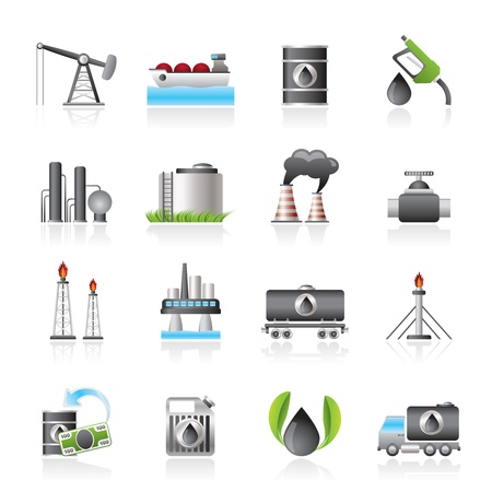 oil refinery: Petrol and oil industry icons  Illustration