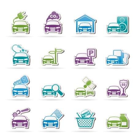car parking: Car and road services icons  Illustration
