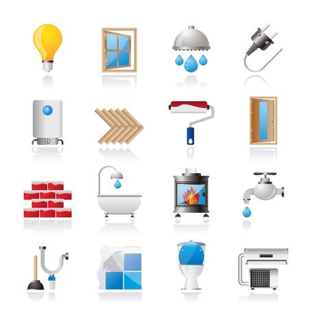 calentador: Construcci�n y hogar iconos actualizaci�n - conjunto de iconos