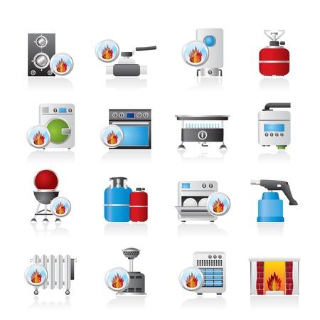 chemin�e gaz: Electrom�nager gaz ic�nes - jeu d'ic�nes