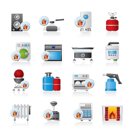 gas fireplace: Household Gas Appliances icons - icon set Illustration