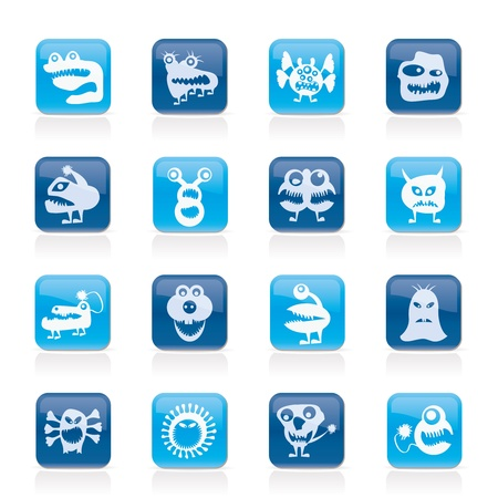 various abstract monsters illustration -  icon set Stock Vector - 17590448