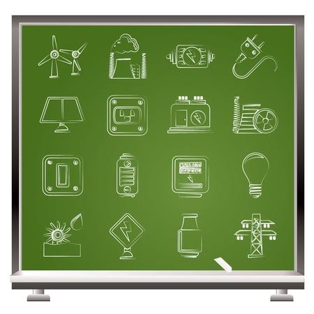thermal power plant: electricidad, potencia y energ�a iconos - conjunto de iconos Vectores