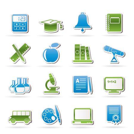 objetos escolares: Objetos de Educaci�n y la escuela iconos - conjunto de iconos Vectores