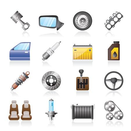 repuestos de carros: Detalladas piezas de iconos de coches - Set vector icono Vectores