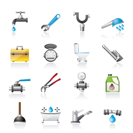 realistic plumbing objects and tools icons - vector icon set Illustration