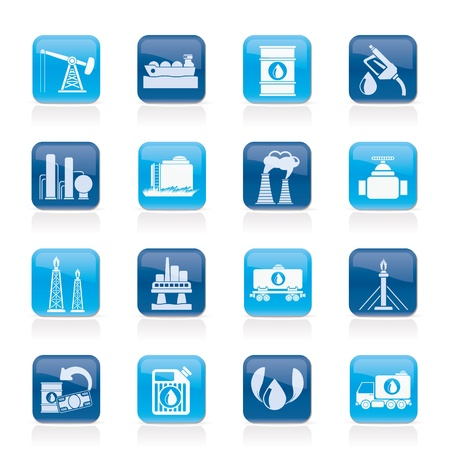 Petrol and oil industry icons - vector icon set Vector