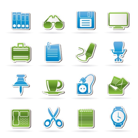 Business and office objects icons - vector icon set Stock Vector - 17817522
