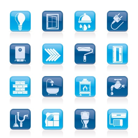 aguas residuales: Construcci�n y hogar iconos actualizaci�n - Set vector icono