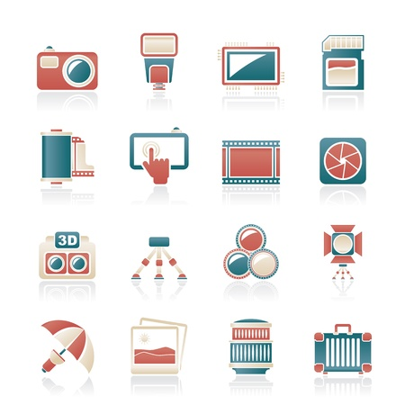 photography icon: Photography equipment icons - vector icon set