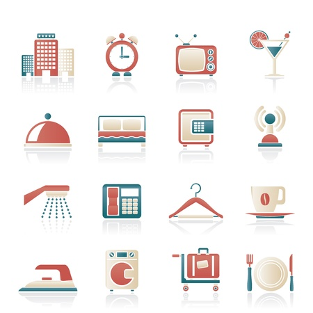 closet communication: Hotel, motel and travel icons - vector icon set Illustration