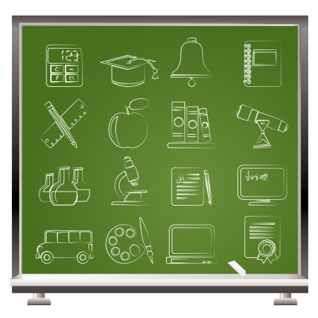 Education and school objects icons - vector icon set Stock Vector - 17817541