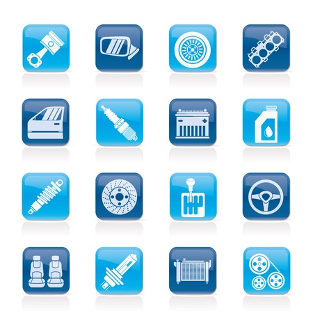 Detailed car parts icons - vector icon set Stock Vector - 17817547