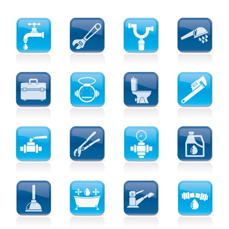 monoblock: plumbing objects and tools icons - vector icon set