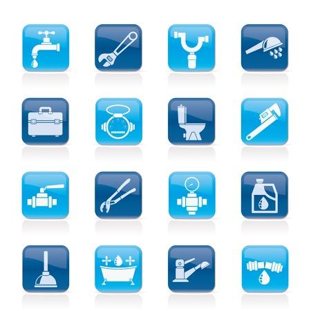 loodgieterswerk: sanitair voorwerpen en gereedschappen iconen - vector icon set