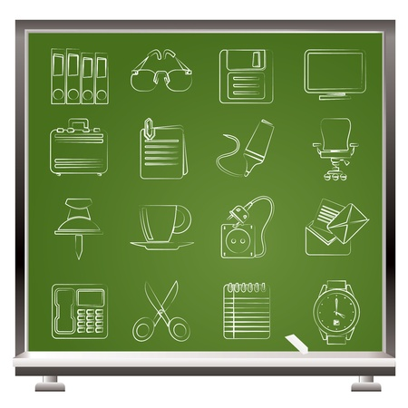 Business and office objects icons - vector icon set Stock Vector - 17817540