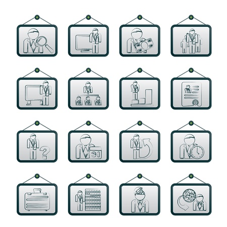 Business, management and hierarchy icons - vector icon set Stock Vector - 17983054