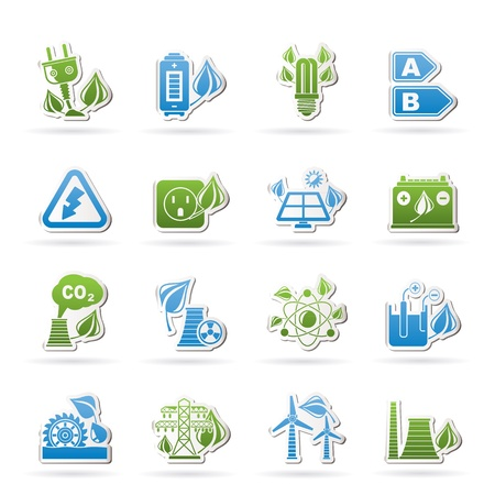 Green energy and environment icons - vector icon set Stock Vector - 17983053