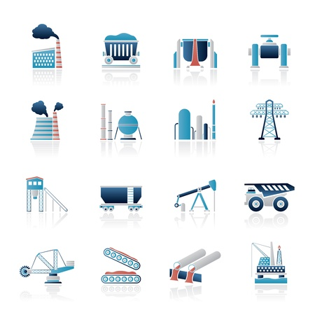 oil pipeline: Industria pesada iconos - Conjunto vector icono