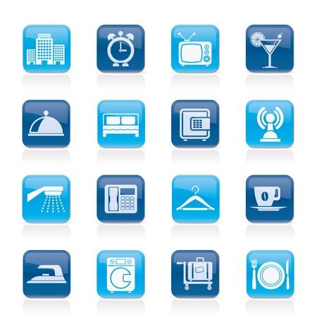 ванная комната: Здания гостиниц, мотелей и путешествия иконы - Векторный Икона Set Иллюстрация