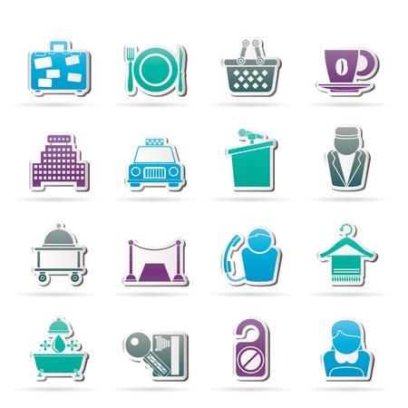 piccolo: Hotel and motel services icons - vector icon set Illustration
