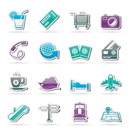 Travel and vacation icons - vector icon set Stock Vector - 18135135