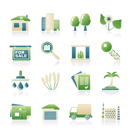 Real Estate and building icons -  Icon Set Illustration