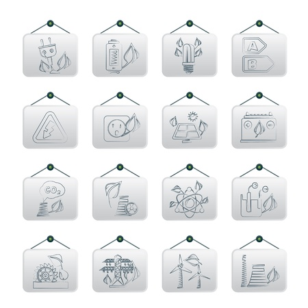 cold fusion: Green energy and environment icons -  icon set Illustration