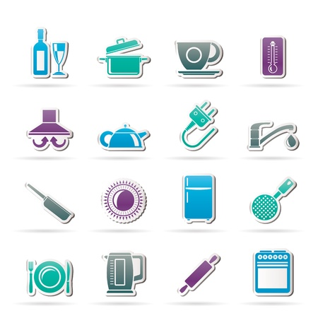 kitchen objects and accessories icons -  icon set Vector