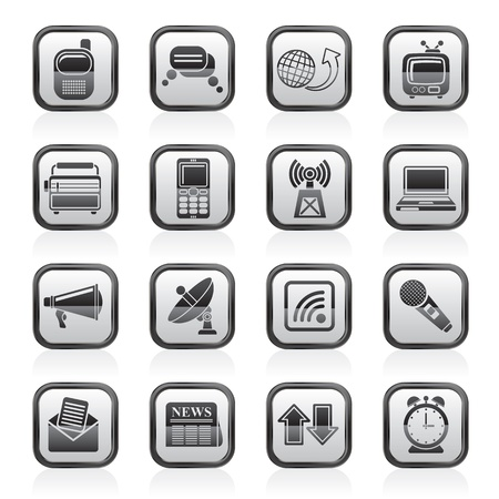 clock radio: Communication and connection icons - vector icon set Illustration