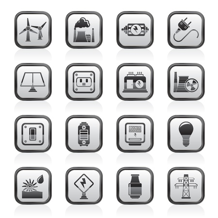 electricity, power and energy icons - vector icon set Stock Vector - 18377360