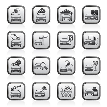 car garage: Car and road services icons - vector icon set
