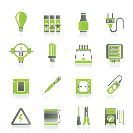 ammeter: Electrical devices and equipment icons Illustration