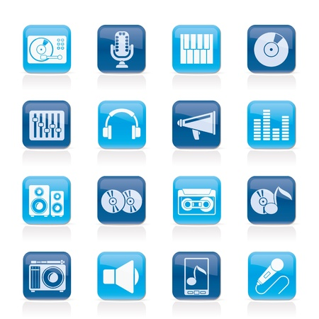 Music and audio equipment icons - vector icon set Vector