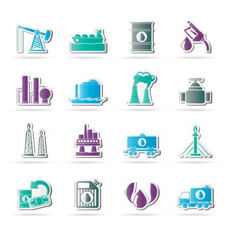 oil and gas industry: Petrol and oil industry icons - vector icon set Illustration