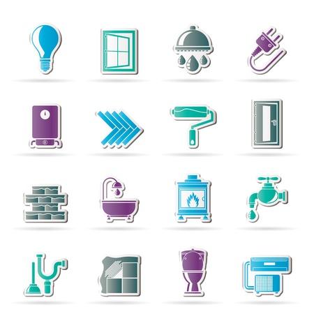 loodgieterswerk: Bouw en renovatie van woningen icons - vector icon set Stock Illustratie