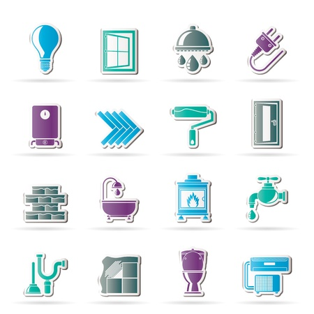 heater: Construction and home renovation icons - vector icon set