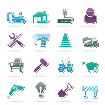 dyeing: Building and construction icons - vector icon set