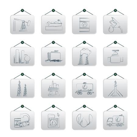 oil pipeline: Gasolina y aceite de iconos de la industria - conjunto de iconos Vectores
