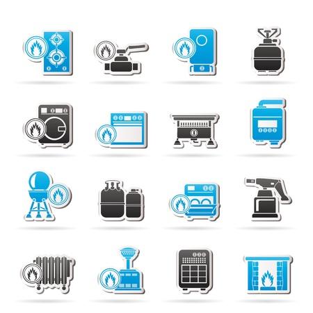 spotřebič: Domácí plynové spotřebiče ikony - sady ikon Ilustrace